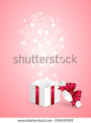 Open gift box with blurry lights on pink background, illustration.