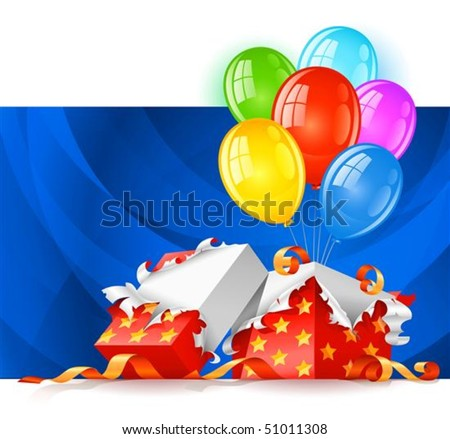 open gift box with color balloons vector illustration, isolated on white background - stock vector