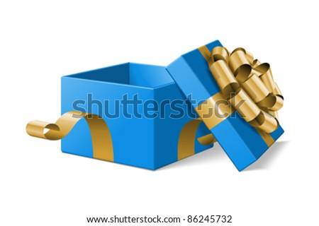 Open gift box with gold bow isolated on white. Vector illustration eps 10. - stock vector