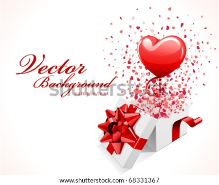 Open gift present box fly hearts stock vector 68331367 shutterstock open gift present box with fly hearts and balloon valentines day vector background negle Gallery