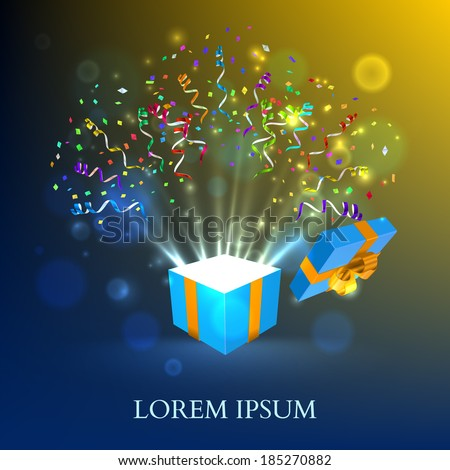 Open gift with fireworks from confetti. Vector background