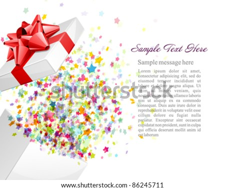 Open gift with fireworks from confetti vector background. Eps 10 - stock vector