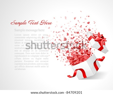Open gift with fireworks from heart confetti vector background. Eps 10 - stock vector