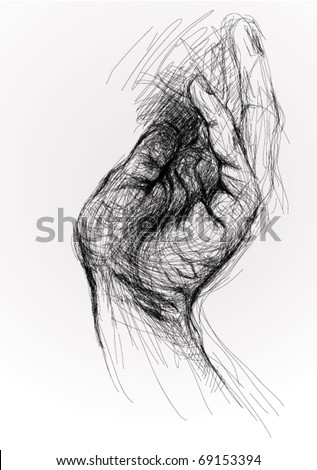Open hand / realistic sketch (not auto-traced) - stock vector