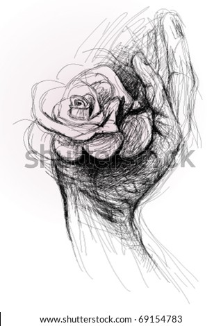 Open hand with Rose / realistic sketch (not auto-traced) - stock vector