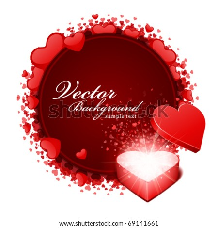 Open heart gift and card with hearts Valentine's day vector background