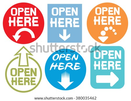 open here stickers set - stock vector