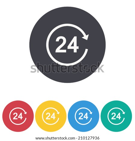 open 24 hours a day icons, vector illustration - stock vector