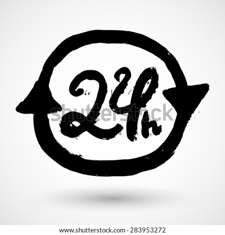 Open 24 Hours Sign - stock vector