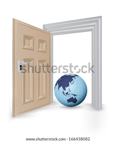 open isolated doorway frame with Asia globe vector illustration - stock vector