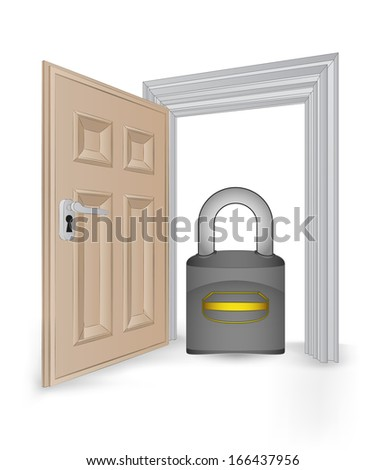 open isolated doorway frame with security padlock vector illustration
