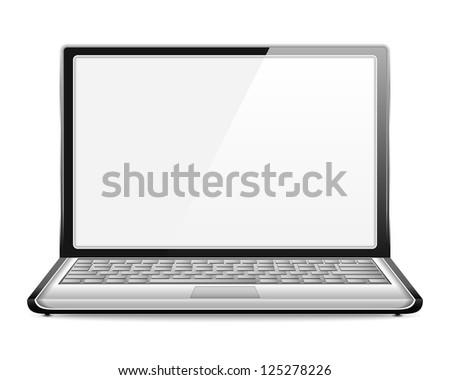 Open laptop on white background, vector eps10 illustration - stock vector
