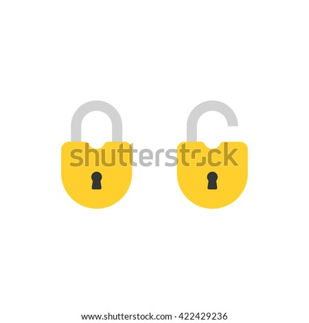Open lock and close lock flat icons. Silhouette lock. Yellow locks isolated on background. Vector set