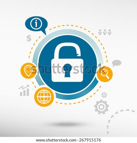 Open lock icon. Creative design elements. Flat design concept - stock vector