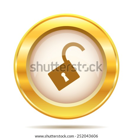 Open lock icon. Internet button on white background. EPS10 vector.  - stock vector