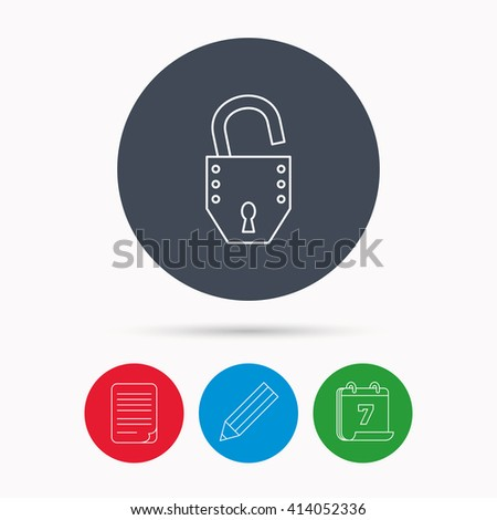 Open lock icon. Padlock or protection sign. Password symbol. Calendar, pencil or edit and document file signs. Vector - stock vector