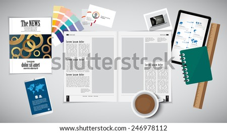Open magazine and desk accessories, vector Illustration - stock vector