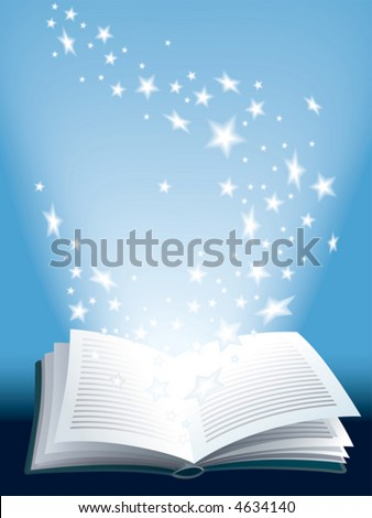 Open magic book with flying shining stars - stock vector