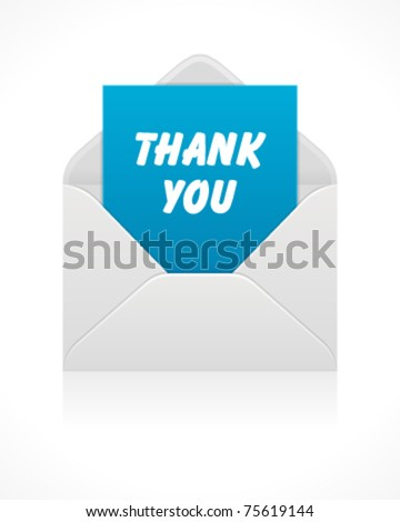 Open mail icon with thank you message . Vector illustration Eps 10. - stock vector