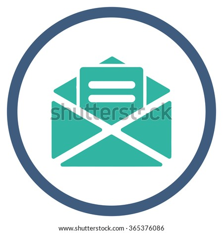 Open Mail vector icon. Style is bicolor flat circled symbol, cobalt and cyan colors, rounded angles, white background. - stock vector