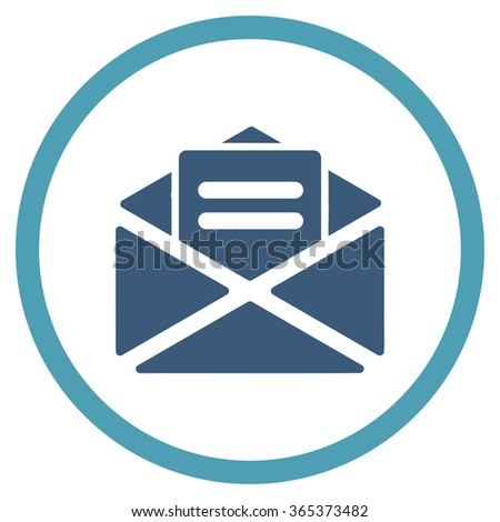 Open Mail vector icon. Style is bicolor flat circled symbol, cyan and blue colors, rounded angles, white background. - stock vector
