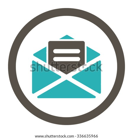 Open Mail vector icon. Style is bicolor flat rounded symbol, grey and cyan colors, rounded angles, white background. - stock vector