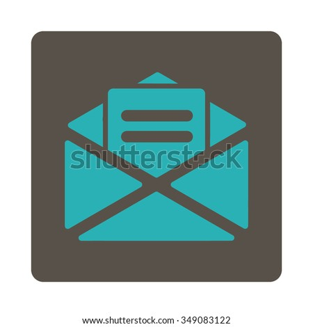 Open Mail vector icon. Style is flat rounded square button, cyan and grey colors, white background. - stock vector
