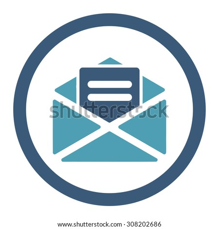 Open mail vector icon. This rounded flat symbol is drawn with cyan and blue colors on a white background. - stock vector