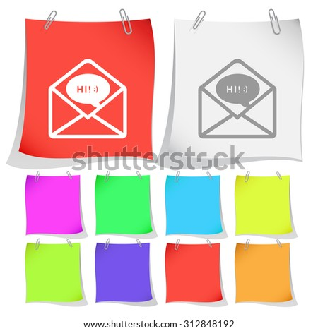 open mail with chat. Vector note papers. - stock vector