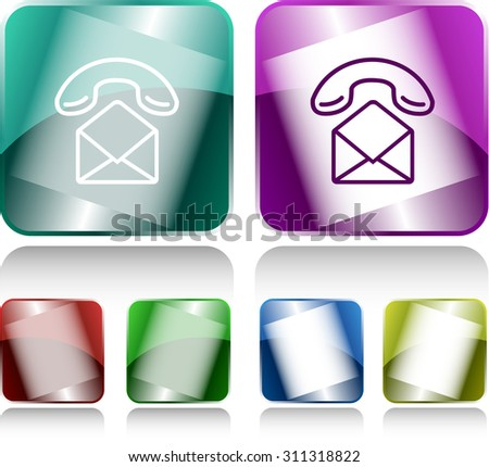 open mail with handset. Internet buttons. Vector illustration. - stock vector