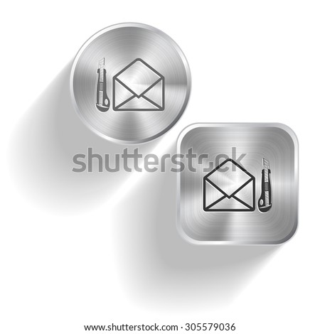 open mail with knife. Vector set steel buttons - stock vector