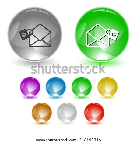 open mail with lock. Vector interface element. - stock vector