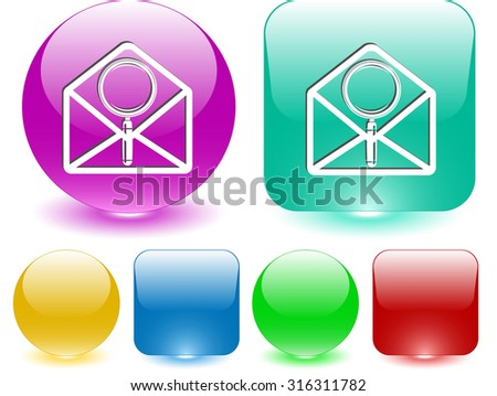 open mail with magnifying glass. Vector interface element. - stock vector