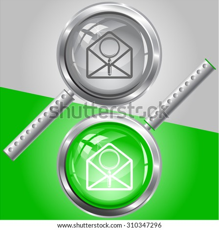 open mail with magnifying glass. Vector magnifying glass. - stock vector