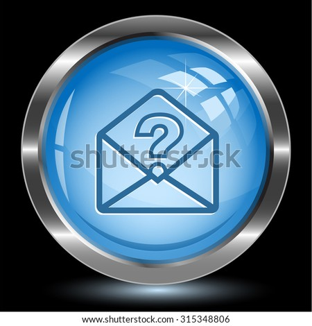 open mail with query sign. Internet button. Vector illustration. - stock vector