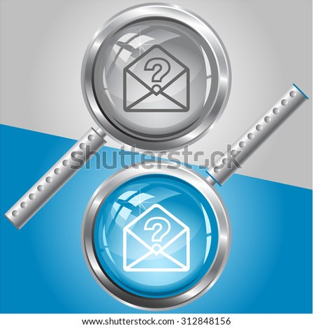 open mail with query sign. Vector magnifying glass. - stock vector