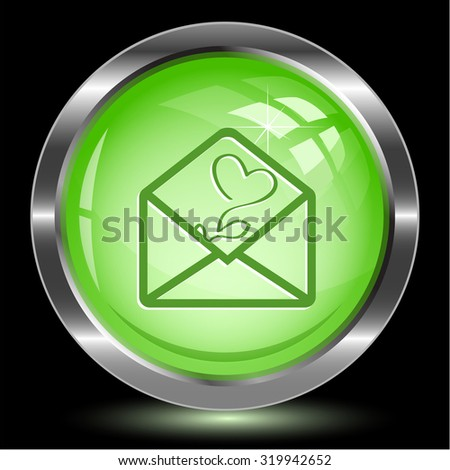 open mail with tulip. Internet button. Vector illustration. - stock vector