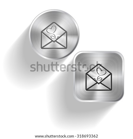 open mail with tulip. Vector set steel buttons - stock vector