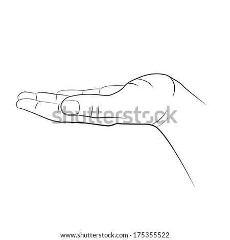 Open man hand  isolated on white background - stock vector