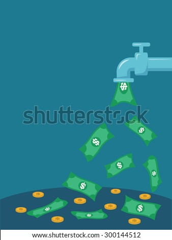 open money from faucet. Vector illustration. - stock vector