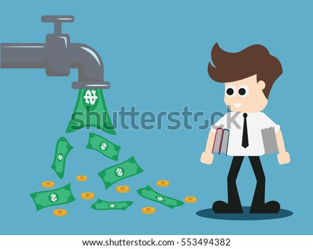 open money from faucet. Vector illustration.