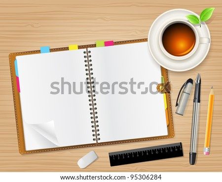 open notebook and cup of tea - stock vector