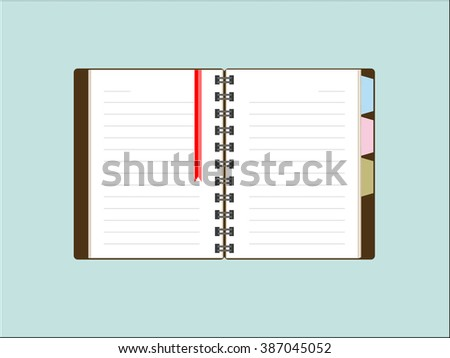 Open notebook or organiser with blank pages, Vector Illustrator, Eps10 - stock vector