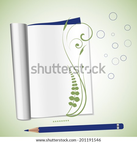 open notebook with fern and copyspace   - stock vector