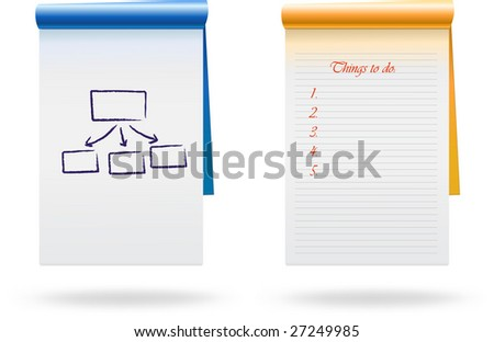 Open notebook with sample drawings/handwriting. VECTOR, no gradient mesh used (except shadows below), sample art easy to remove. - stock vector