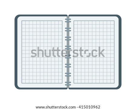 Open notebook with white page. Open notebook vector illustration. Opened notepad book blank page white empty paper and opened notepad business note diary sheet education pad document template. - stock vector