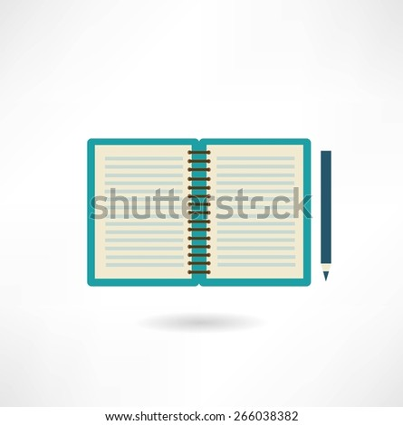 open notepad icon - stock vector