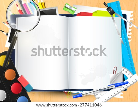 Open notepad with place for your text and school supplies on the school desk - stock vector