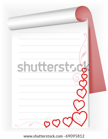 open notepad with red hearts and pink sprigs - stock vector