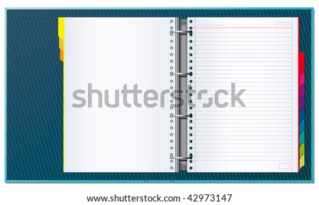 Open office binder with paper tabs and blank pages to write your own text - stock vector